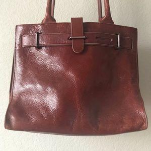 Vintage Furla leather burgundy shoulder tote bag